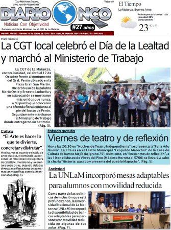 #BuenViernes Portada impresa de Diario NCO del 19-10-2018