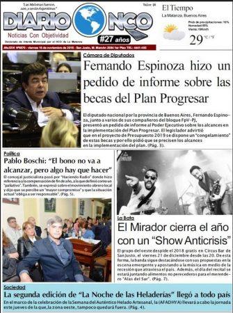 #BuenViernes Portada impresa de Diario NCO del 16-11-2018