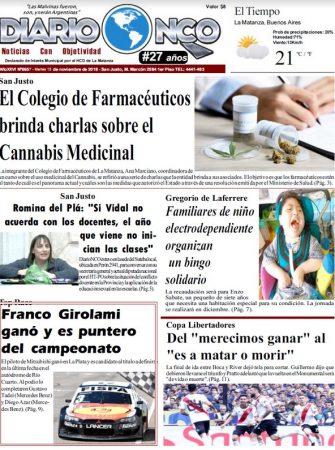 #BuenMartes Portada impresa de Diario NCO del 13-11-2018