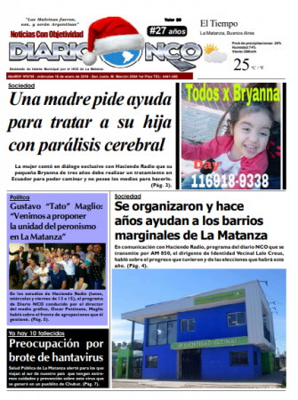 #BuenMiércoles Leé la edición impresa de Diario NCO del 16-01-2019