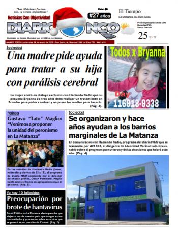 #BuenMartes Leé la edición impresa de Diario NCO del 16-01-2019