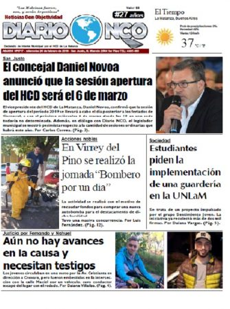 #BuenMiércoles Leé la edición impresa de Diario NCO del 20-02-2019