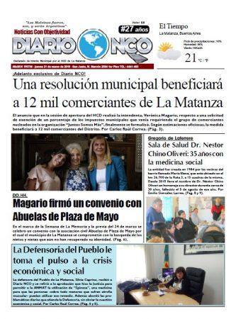 #BuenJueves Leé la edición impresa de Diario NCO del 21-03-2019