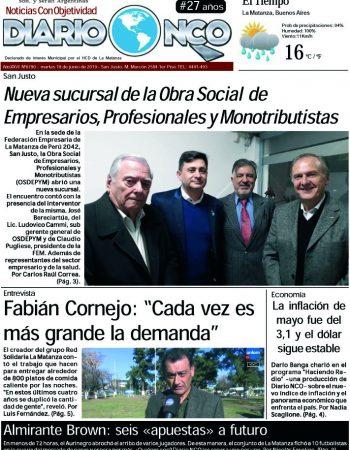 #BuenMartes Leé la edición impresa de Diario NCO del 18-06-2019