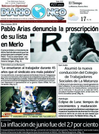 #BuenLunes Leé la edición impresa de Diario NCO del 22-07-2019