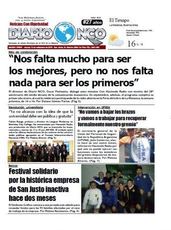 #BuenViernes Leé la edición impresa de Diario NCO del 13-09-2019