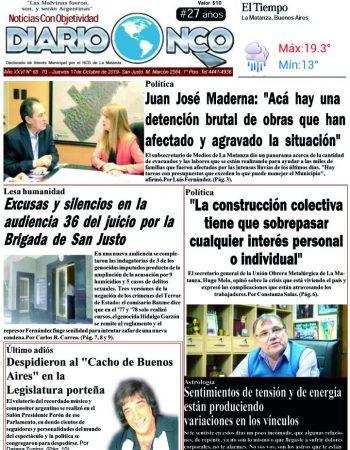 #BuenJueves Leé la edición impresa de Diario NCO del 17-10-2019