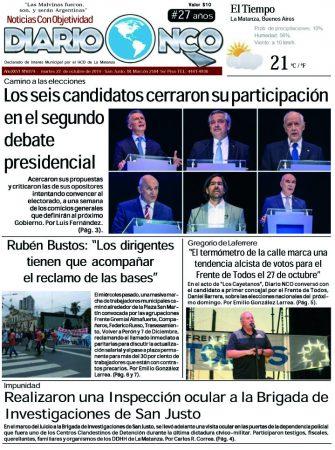 #BuenMartes Leé la edición impresa de Diario NCO del 22-10-2019