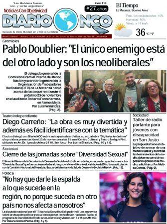#BuensViernes Leé la edición impresa de Diario NCO del 22-11-2019