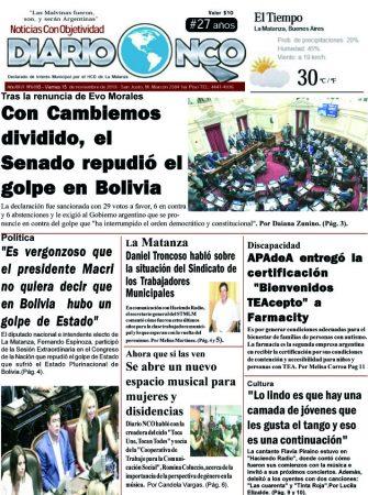 #Buen Viernes Leé la edición impresa de Diario NCO del 15-11-2019