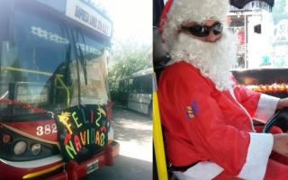 Papá Noel ATR: Disfrazado manejó un bondi en Morón, Moreno, Ituzaingó y San Miguel