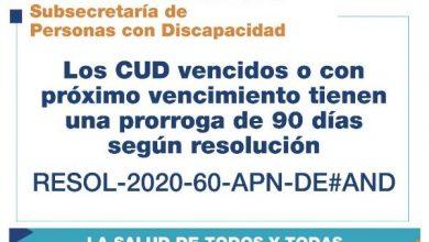 Photo of Se prorroga el plazo para actualizar el Certificado Único de Discapacidad